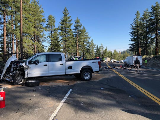 A photo showing the scene of a crash at Round Hill on June 13, 2019.