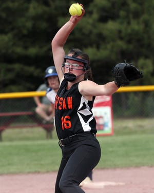 Warsaw's Anna O'Geen pitches against  Pine Plains in the Class C softball state semifinal at Moreau Recreational Park in Glens Falls, New York on June 15,  2019.