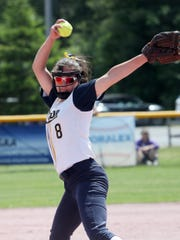 Victor's Katie Sidare pitching against Cicero-North Syracuse in the Class AA softball state semifinal at Moreau Recreational Park in Glens Falls, New York on June 15,  2019.