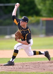 McQuaid's Hunter Walsh delivers a pitch during the first inning of the state Class AA championship game on Saturday. Walsh pitched a no-hitter as McQuaid claimed its first state crown in baseball with a 5-0 win over Shenendehowa.