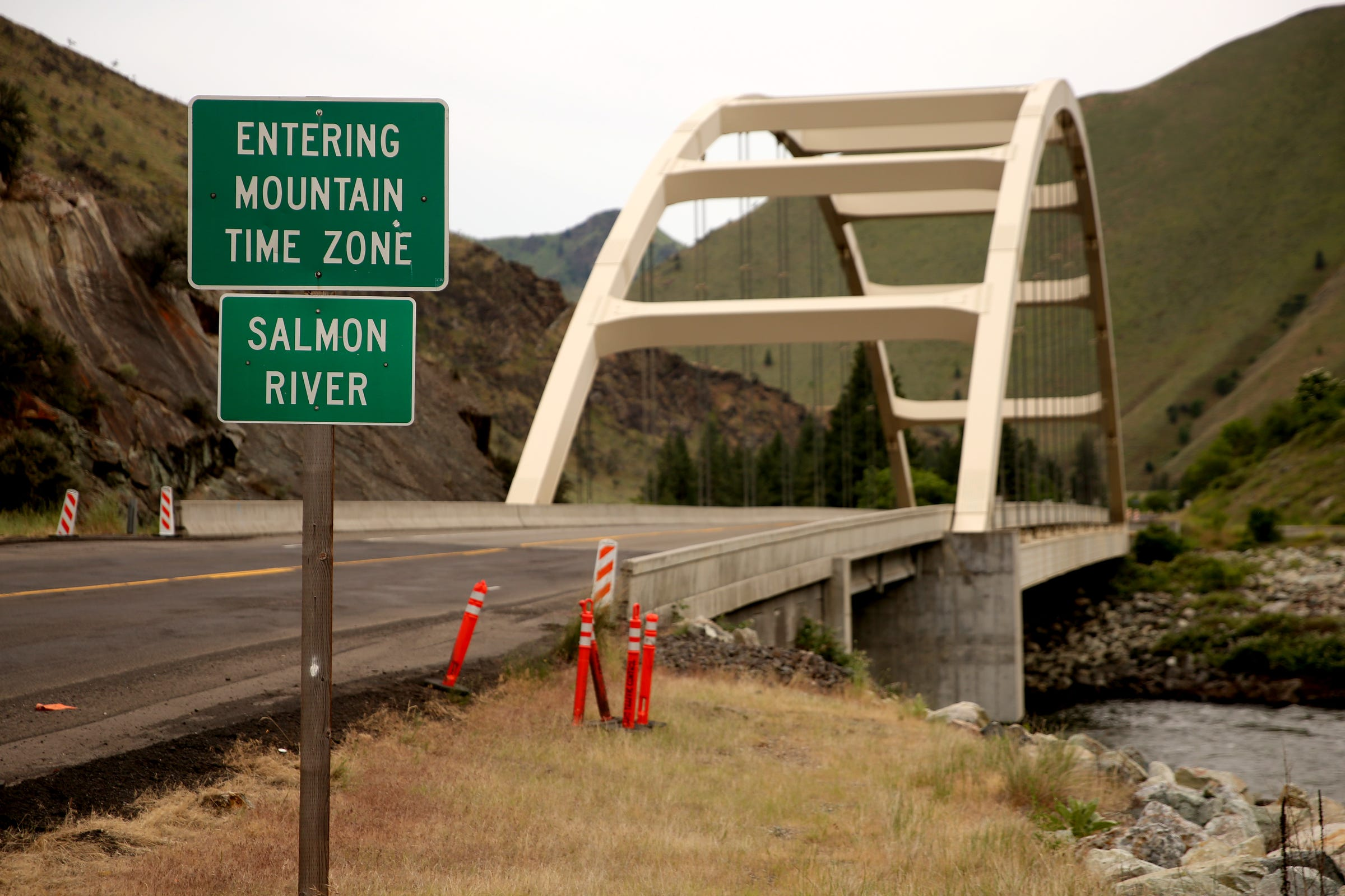 The Salmon River divides the Mountain and Pacific time zones at Riggins, Idaho on June 12, 2019.