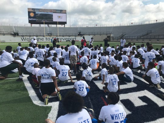 Tre'Davious White talks to campers Saturday morning at Independence Stadium.