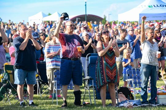 The crowd cheers for Ruthie Foster as she performs the first-ever concert at Levitt at the Falls on Friday, June 14, in Sioux Falls.
