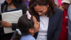 Sen. Kamala Harris meets with McDonald's employees on strike for a higher minimum wage and better working conditions in Las Vegas Friday, June 14, 2019.