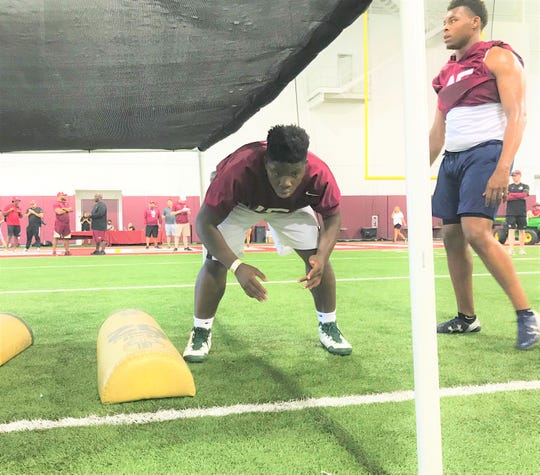FSU commit Dequaveon Fuller preps for a drill during the Willie Taggart All-Position Camp on Saturday, June 15, 2019.