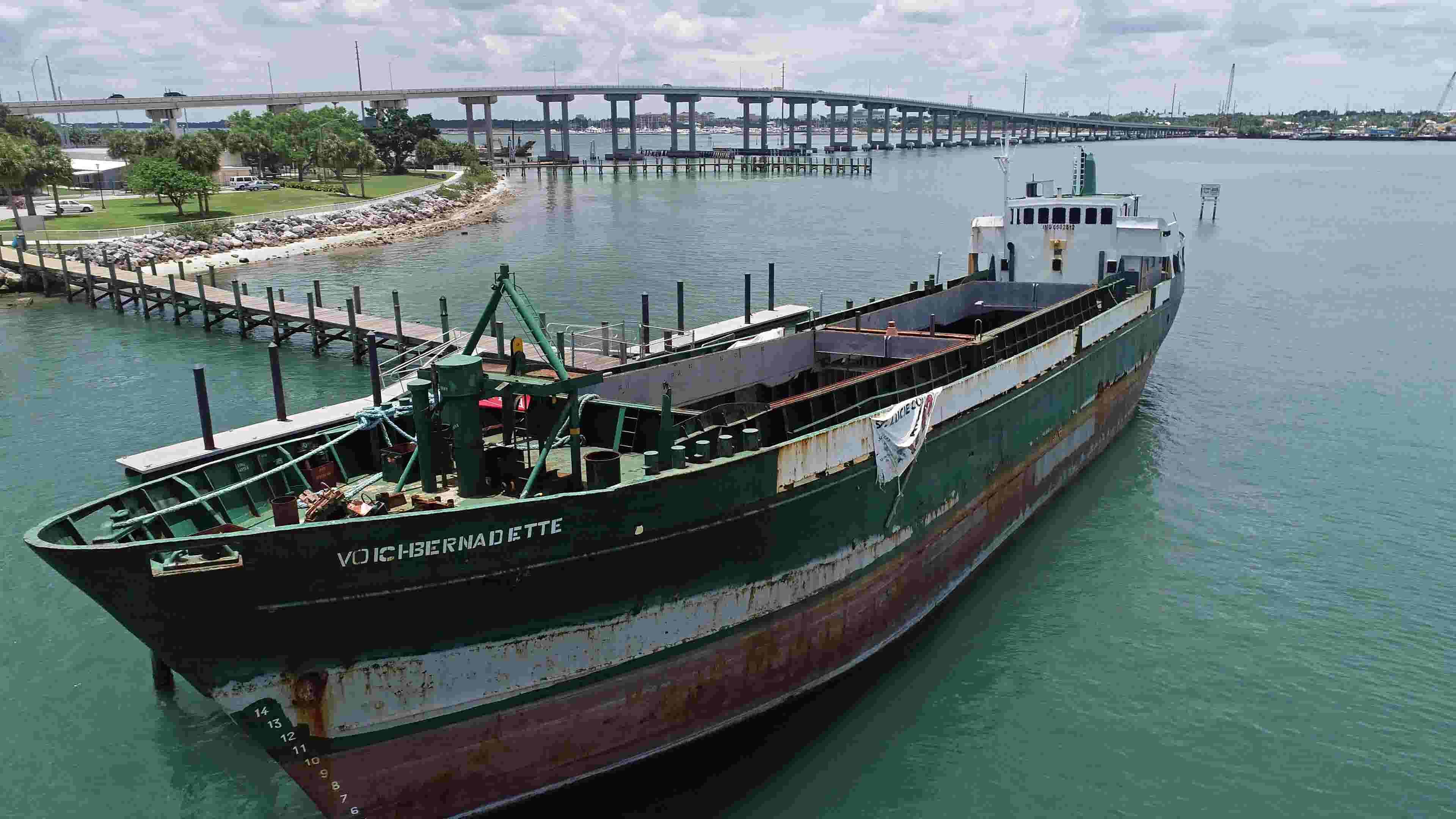 Drone video: Former smuggling ship Voici Bernadette set to sink, provide  ocean refuge