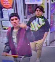 Two of the suspects in a May 24 car burglary were filmed using stolen credit cards at a Walmart on Trans Mountain Road in Northeast El Paso, police say.