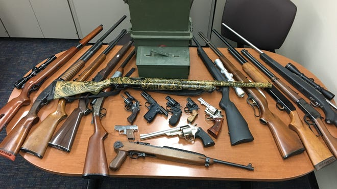Deputies said they confiscated these items when serving Steven Dobbins, of Oak View, with a gun violence restraining order.