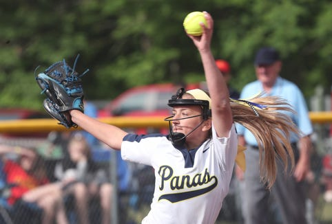 Walter Panas pitcher Olivia Bordenaro in action against Williamsville East in the softball state semifinal at Moreau Recreational Park in Glens Falls, New York June 15,  2019. Williamsville East won the game 6-0.