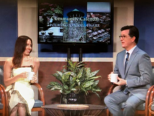 """Aubrey Plaza and Stephen Colbert detail upcoming events in Wilmington, Delaware, on a segment called """"Community Calendar,"""" on the June 14 edition of """"The Late Show with Stephen Colbert."""""""