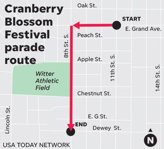 The Cranberry Blossom Festival parade route 2019