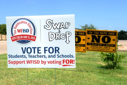 Signs for the Wichita Falls ISD property tax proposition were on display Saturday, June 15, 2019, in front of the Region IX Education Center.