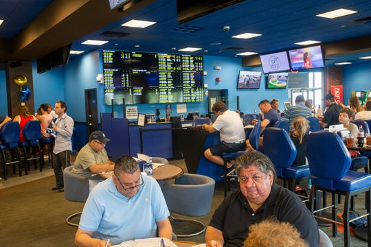 Although they weren't able to place sports  because of an internet snafu, visitors to the Monmouth Park Sports Book by William Hill did not mind simply sitting and eating while they looked over the track's .Father's Day racing at Monmouth Park including Maximum Security's first race since disqualification in the Kentucky Derby.