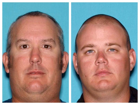 New Jersey driver's license photos of  former Harvey Cedars Police Sgt. Sean Marti (left) and Harvey Cedars Police Detective Christopher Oldham (right).