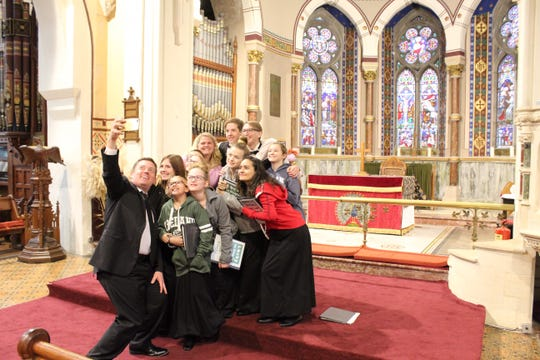Much of what Chorus Abilene members are seeing in Ireland is old, but taking a group selfie in a beautiful church never gets old. Adam Samuels tries his hand at St. Mary's Church.