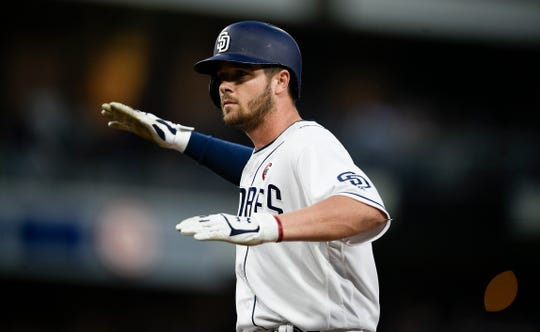 San Diego Padres' Austin Allen in action during the sixth inning of a baseball game against the Pittsburgh Pirates in San Diego, Saturday, May 18, 2019. (AP Photo/Kelvin Kuo)