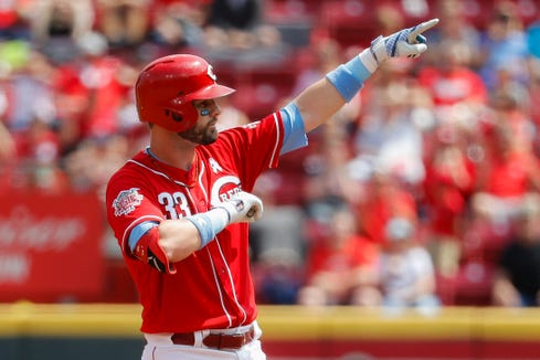 Cincinnati Reds' Jesse Winker reacts after hitting a two-run double off Texas Rangers starting pitcher Ariel Jurado in the second inning of a baseball game, Sunday, June 16, 2019, in Cincinnati.
