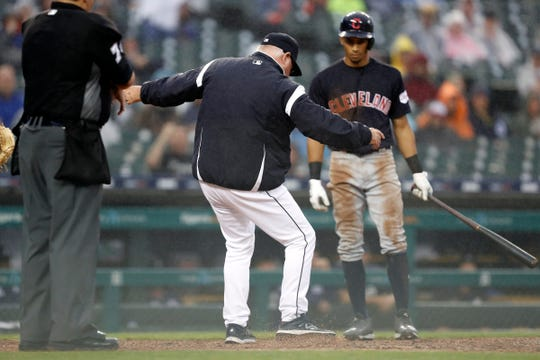 Detroit Tigers manager Ron Gardenhire kicks dirt after getting ejected from the game for arguing a call with umpire Manny Gonzalez during the sixth inning at Comerica Park, Saturday, June 15, 2019.