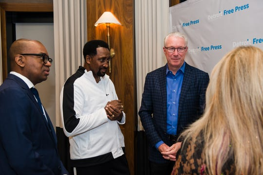 "Boxing legend Tommy ""Hit Man"" Hearns with Detroit Lions President Rod Wood at the Detroit Free Press sold-out Breakfast Club forum held Thursday at the Townsend Hotel. The forum, the third in the speaker series, looked at luring more high profile national sporting events to the metro Detroit."