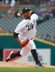 Tigers pitcher Gregory Soto held the Indians to two hits while striking out three and walking two in four scoreless innings.