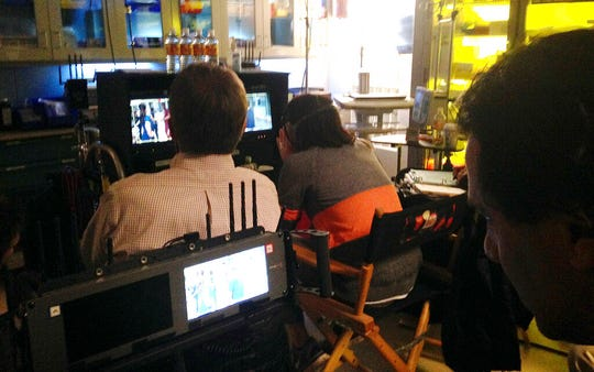 """In this Feb. 19, 2015 file photo, crew members from NBC's """"The Night Shift,"""" watch over filming of an episode at Albuquerque Studios in Albuquerque, N.M. New Mexico's film industry appears to be on the brink of a boom thanks to abortion law controversies in other states and expanded incentives."""