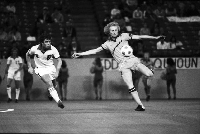 Keith Furphy, whose father Ken coached the team, in action for the Detroit Express in 1978.