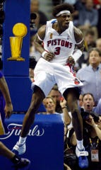 The Detroit Pistons Ben Wallace  celebrates after scoring in the second half against the Los Angeles Lakers in  Game 5.