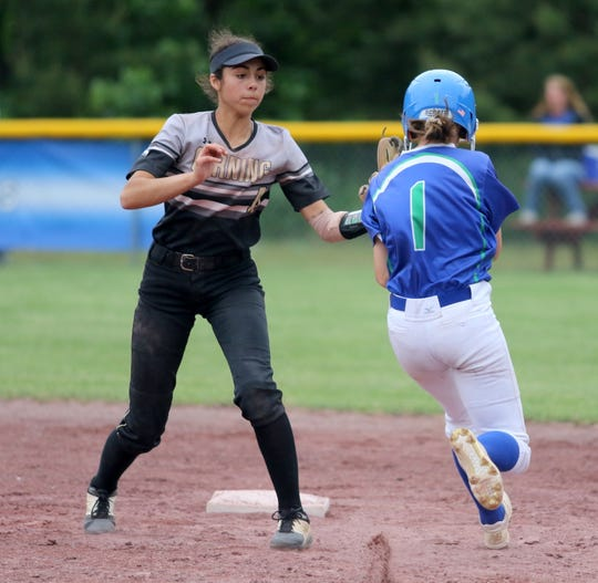 Corning shortstop Atalyia Rijo tags out Cicero-North Syracuse's Shannon Sisco in the Class AA softball state final June 15, 2019 at Moreau Recreational Park in South Glens Falls.