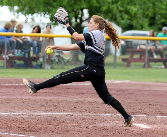 Laura Bennett delivers a pitch for Corning against Cicero-North Syracuse in the Class AA softball state final June 15, 2019 at Moreau Recreational Park in South Glens Falls.