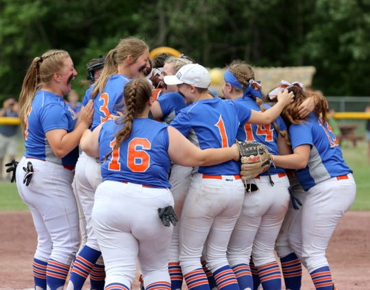 Thomas A. Edison players celebrate their 10-0 win over Warsaw in the Class C softball state final June 15, 2019 at Moreau Recreational Park in South Glens Falls.