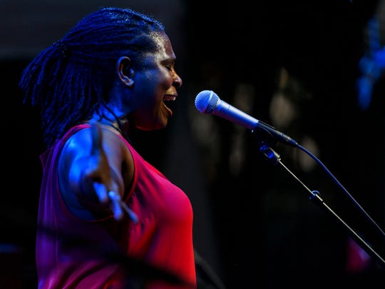 Ruthie Foster hits the high notes during her performance at the 29th annual W.C. Handy Blues & Barbecue Festival held in Henderson's Audubon Mill Park, Saturday, June 15, 2019.