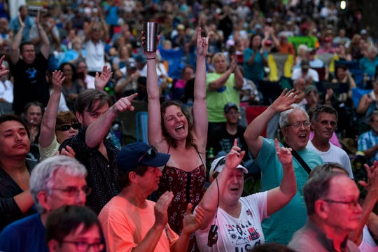 A large crowd cheers for Ruthie Foster during her performance at the 29th annual W.C. Handy Blues & Barbecue Festival at Audubon Mill Park in Henderson, Ky., Saturday, June 15, 2019.