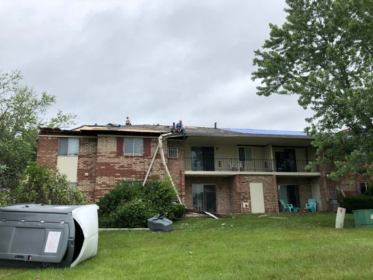 The scene from the Beech Meadow Apartments on Sunday, June 16, 2019, the day after an EF-1 tornado touched down in Beech Grove.