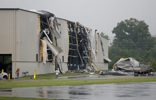 Storm damage in Beech Grove, Indiana, where a strong storm and possible tornado came through on Saturday, June 15, 2019.