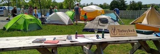 This camping workshop held at Big Grove Brewery in Iowa City was a hit in early June. The new Turkeyfoot Folk School here hosted it, in collaboration with Fin & Feather and World of Bikes.