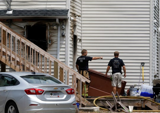 Lancaster Firefighters investigate a kitchen fire Sunday afternoon, June 16, 2019, at the Arthur B. Keiffer Veterans House at 843 North Columbus Street in Lancaster. Seven veterans living in the home might not be able to return for 30-60 days.
