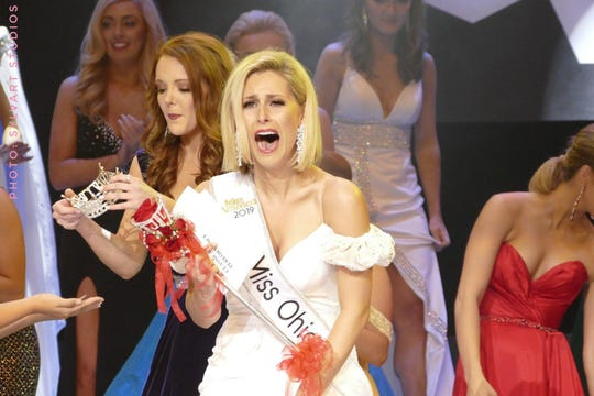 Caroline Grace Williams, 24, of Cincinnati, reacts to winning the Miss Ohio Scholarship Pageant Saturday night at the Renaissance Theatre. Photo courtesy of Brent Watkins/Sylvart Studios