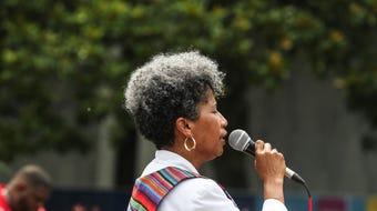 People gathered Sunday afternoon in the Civic Center Plaza for a prayer vigil of lamentation hosted by the Memphis Interfaith Coalition for Action and Hope.