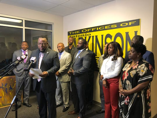 State rep. Antonio Parkinson, second from left, and Frayser area pastors are seeking mental health professionals to offer free counseling services to children.