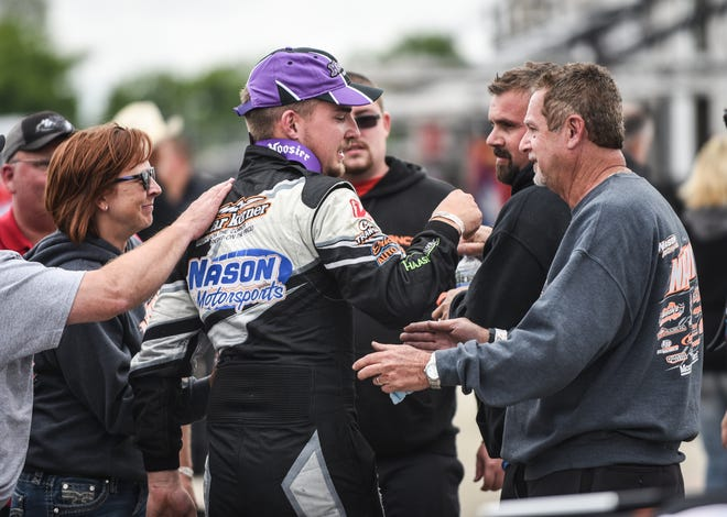 Austin Nason of Roscoe, Illinois, accepts congratulations after winning the ARCA Midwest Tour Father's Day 100 last June.
