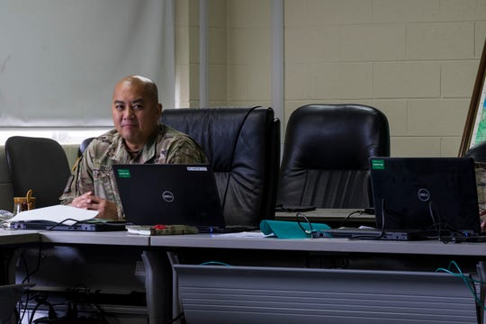 U.S. Army Reserve Lt. Col. James Bush, chief of operations,  335th Signal Command (Theater) listens to another Soldier during a Casualty Notification and Assistance Course at the headquarters in East Point, Georgia, June 12, 2019.  The Army provides training to prepare casualty notification and assistance officers for the emotional aftereffects of bearing sad tidings.