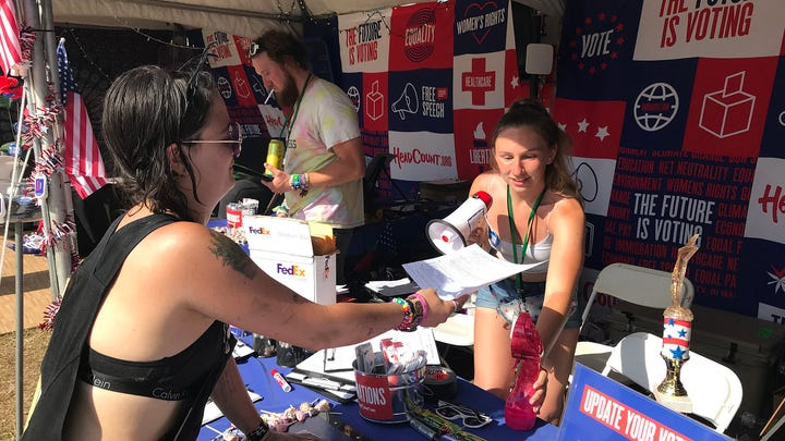 Tennessee's new voter registration law scares volunteers who sign up voters at festivals like Bonnaroo