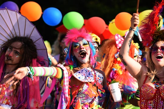 Bonnaroo Pride Parade started in Plaza 3 in the campgrounds on Saturday, June 15, 2019 during the Bonnaroo Music and Arts Festival in Manchester, Tenn.