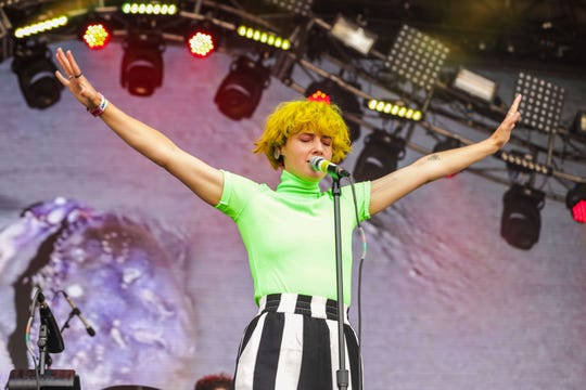 Kalmia Traver of Rubblebucket performs at Bonnaroo's Which Stage June 15 in Manchester, Tenn.
