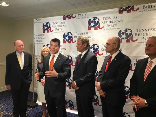 From left to right, Sen. Lamar Alexander, Sen. Marsha Blackburn, Sen. Todd Young, Gov. Bill Lee, Statesmen's Dinner Chairman Andy Puzder and Republican Party Chairman Scott Golden attend a press event directly before the Statesmen's Dinner