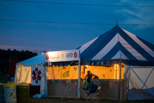 Pod 11 medical and information tent is seen at Bonnaroo Music and Arts Festival in Manchester, Tenn., Saturday, June 15, 2019.