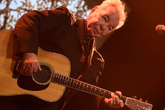 John Prine performs on Saturday, June 15, 2019 during the Bonnaroo Music and Arts Festival in Manchester, Tenn. His weekend Rockland-Bergen Music Festival show has been canceled because of a wet field.