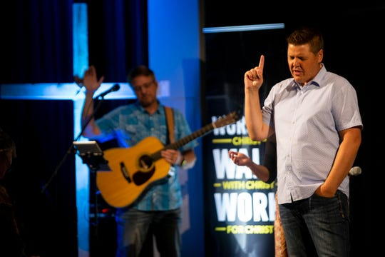 Senior Pastor Jeff Donaldson, right, preaches during a church service at Harvest Bible Chapel in Naples on Sunday, June 16, 2019.