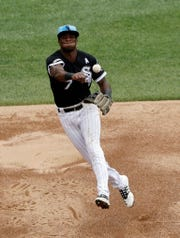 Chicago White Sox shortstop Tim Anderson throws out New York Yankees' Cameron Maybin at first during the third inning of a baseball game in Chicago, Sunday, June 16, 2019. (AP Photo/Nam Y. Huh)