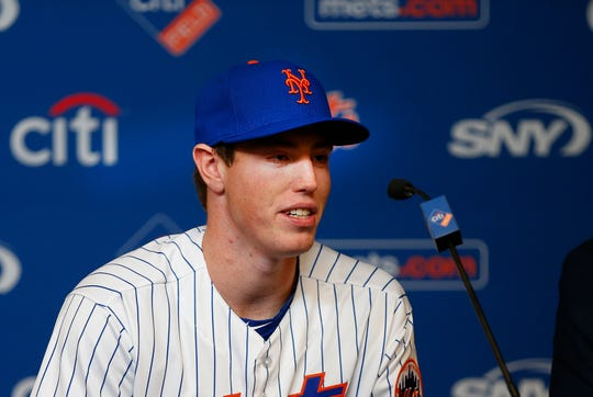 Jun 15, 2019; New York City, NY, USA; New York Mets first round pick in the 2019 MLB draft Brett Baty addresses the media after being introduced during a press conference prior to the game between the New York Mets and St. Louis Cardinals at Citi Field.